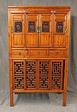 Chinese Carved Two Piece Cabinet, Four Doors with Brass Pulls and Center Lock Pin, Carved Lattice Windows with Figure Medallions and...