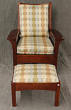 Stickley Two Piece Ladderback Arm Chair and Small Ottoman with Checkered Upholstery, (1) Chair 39