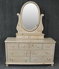 Thomasville, Dresser, White Washed Pine, Nine Drawers with Floral Designs on Ball Feet, 73 1/2
