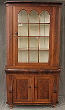 Empire Corner Cupboard, Walnut with Figural Veneered Cornice, 12 Lite Glazed Door over Figural Veneered Drawers and Two Doors on Bal...