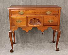 Chippendale Lowboy, Mahogany, Four Drawers with Shell Carved Center Drawer, Scrolled Apron with Finials, Cabriole Legs on Pad Feet (...