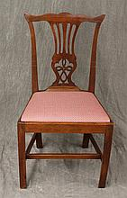 Chippendale Splatback Side Chair, Mahogany, Red and White Upholsterey, Box Stretcher Base, (Minor Chipping at the Feet, Good Conditi...