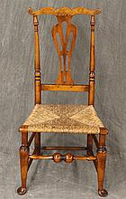 Queen Anne Splatback Side Chair, Mahogany, Wicker Seat on Cabriole Legs, 39