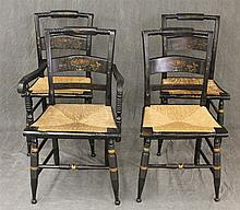 Set of  Four Splat Back Dining Chairs, Painted Black with Foliage Painted Designs, Rush Seat, Spindle Front Legs, (Loose at the Fitt...