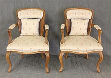 Pair of Louis XV Style Arm Chairs, Walnut, Half Padded and Caned Back, Padded Arms, Cream and Plum Tree Upholstery on Cabriole Legs,...