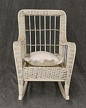 Miniature Rocker, White Wicker and Wood, (Good Condition) 25