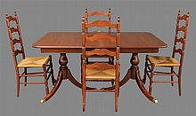 5 Piece Dining Room Suite, Cherry, (1) Table with Brass Feet (One Pedestal Loose), 30