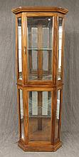 Corner Curio, Walnut Front, Two Glazed Doors with Diamond Glass and Lighted Shelving76