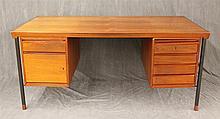 John Stuart, Mid-Century Modern Partner's Desk, Mahogany, (Right Side Drawers Out of Place, Missing Shelf Brackets on Left Back Shel..