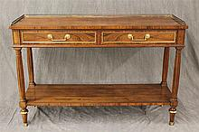 Baker, Sofa Table, Mahogany, Two Drawers over Lower Shelf with Corner Columns, 31