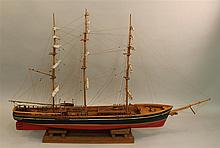 Model Boat of a Sail Boat, Painted Red and Black on a Wooden Stand, 28