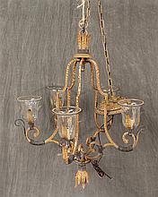 Chandelier, 5 Light, Brown with Black Design, 27