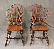 Conant Ball Furniture Co, Four Windsor Side Chairs, (Scratches Throughout and Loss in the Feet), 37