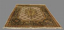 Indian Kumari Wool Rug, Olive, Brown and Red with Floral Design, (Some Staining), 10'L x 8'W