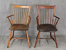 Pair of Windsor Arm Chairs, Bamboo Turned, Plank Seat with an H Stretcher, (Good Condition), 33