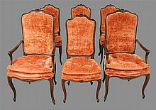 Set of 6 Victorian Revival Chairs, Walnut, Carved Crest, Velvet Upholstery, Scrolled Skirt on Cabriole Legs, (2) Arm Chairs 46