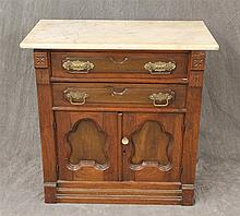Dry Sink, Walnut, Marble Top, Two Drawers over Two Doors, 28 1/2