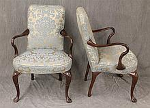 Pair of Arm Chairs, Mahogany, Scrolled Arms, Damask Fabric on Cabriole Legs, 37