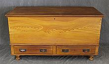 Blanket Chest, Pine, Two Drawers on Bun Feet, 27