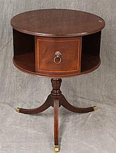 Revolving Dumb Waiter, Mahogany, Inlaid Sides with Handles, Turned Pedestal on Reeded Legs with Brass Caps, 26 1/2