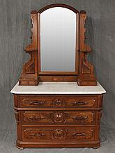 Victorian Dresser, Walnut and Burr-walnut, Tilt Mirror, Marble Top, Two Small Drawers over Three Graduated Drawers, 75