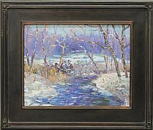 """Kaiser, Don F., b.1958, Pennsylvania, """"Sunrise"""" Oil on Canvas."""