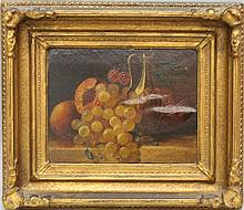 Duffey, Eliza B., 1838-1898, Pennsylvania, Still Life with Fruit & Ewer. Oil on Canvas over Panel.