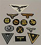 Lot of thirteen (13) German WW II cloth eagle insignia, specialty patches and other.
