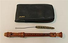 Baroque soprano recorder made in Germany, wood; condition: fair; with swab and Allos case