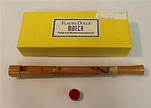 Renaissance soprano recorder by Moeck, wood; condition: good; with cork-grease and foam-fitted box