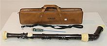 Baroque f-bass recorder by Yamaha, plastic; condition: fair (needs cleaning); curved windway; 4-part bent-neck; with neck-strap, swa...