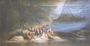 Fine Art Leonard Saurfelt.. Portrayal of women washing linens in a river, oil on canvas, 14' x 25.5in, S&DLL, 'L. Saurfelt 1879'. Artist b. 1840, French. Condition: craquelure.