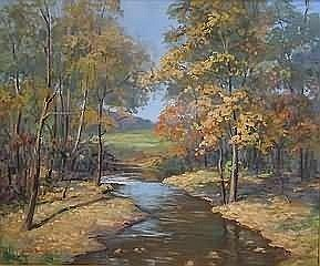 Fine Art John E. Berninger.. Titled, 'Bittners Corner', autumn landscape, oil on canvas, 25' x 30', SLL, 'John E. Berninger'. Artist 20th Century Pennsylvania. Condition: no defects observed.