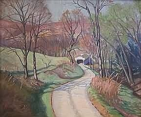 Fine Art Walter I. Mattern.. Spring landscape with covered bridge, oil on board, 25' x 30', signed verso, 'W.I. Mattern'. Artist: 20th Century Pennsylvania. Condition: no defects observed.