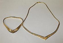 14K Tri-Colour Gold Necklace and Bracelet Set