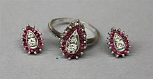 14KW Gold, Ruby and Diamond Ring and Earrings Set