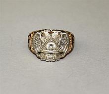 14K Yellow and White Gold, Diamond, Masonic 32nd Degree Ring