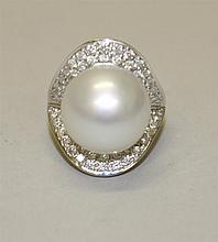 18K White Gold, Pearl and Diamond Ring