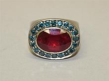 Rhodium Plated, Ruby and Blue Diamond Ring