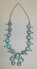 Sterling Silver, Turquoise Squash Blossom Necklace