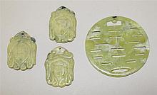 Jade Pendants. Lot of 4.
