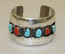 Silver, Turquoise and Coral, Bracelet