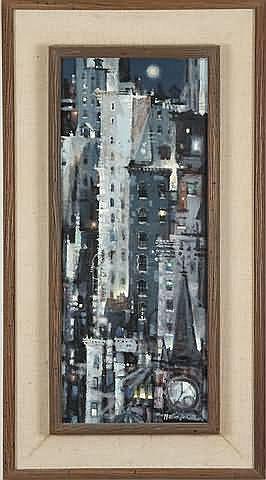 Martin Jackson Manhattan Night, oil on masonite,