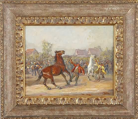Paul Ehrenberg Horses with trainers and crowd, oil