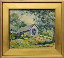 "Mary Pemberton Ginther (1869-1959, Pennsylvania) ""Bridge on Old York Rd Above Hartsville, PA"""