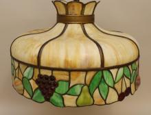 Art Nouveau Leaded Slag Glass Hanging Lamp