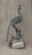 Peacock Sculpture, Verdigris-Green Patina, 41