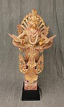 Wooden Standing Garunda, Teak Wood, Origin from Burma, Mandalay Style, Carved Wood Over Red with Jeweling, 19th c, with COA