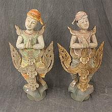 Pair of Painted Asian Sculptures of Two Boys, Wood Gilt, Gesso and Jewel, 40
