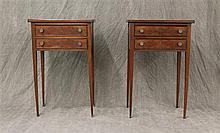 Pair of Heppelwhite End Tables, Mahogany, Two Drawer with Tapered Legs, some Staining and Chipping, 29
